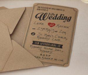 Vintage Hochzeits-Einladungskarten