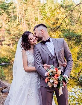 Karierter Hochzeitsanzug in grau