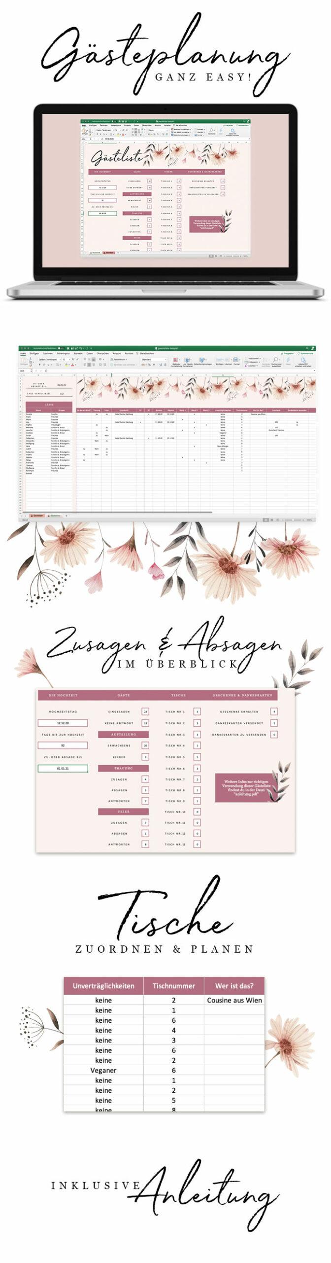Gästeliste - Details unserer Gästeliste für die Hochzeitsgästeplanung