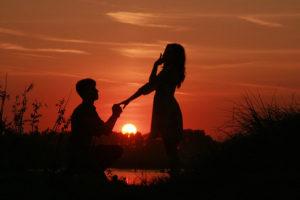 Heiratsantrag Sonnenuntergang See
