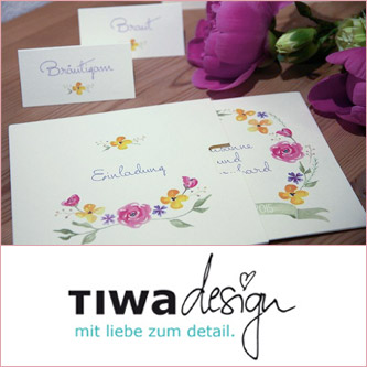 Hochzeitsdesign und Einladungskarten von Tina