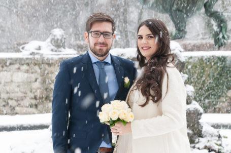 Semir & Emina beim Schneetreiben im Mirabellgarten