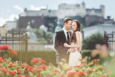 Brautpaar vor Festung Salzburg